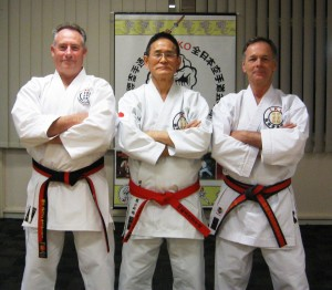 Steve Casserly (Instructor), Yamamoto Shihan (Head of IKO Japan) and Alan Burdett, Chief Instructor